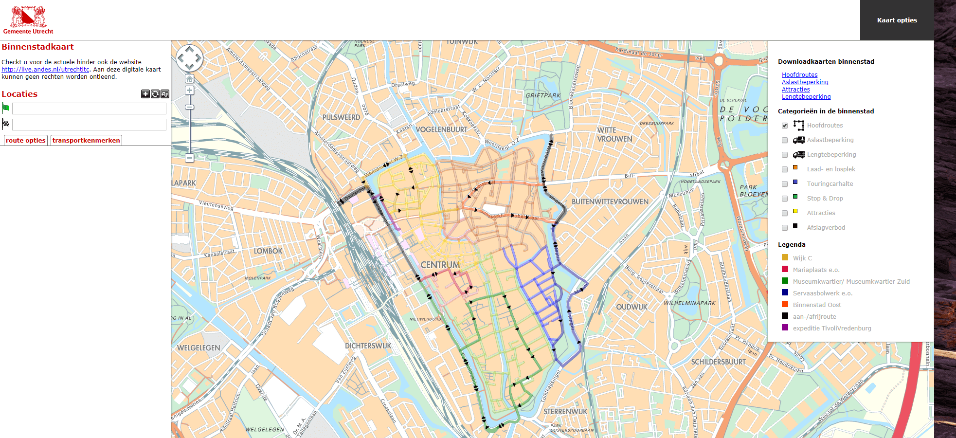 LTC LIVE: City Centre Map of the City of Utrecht